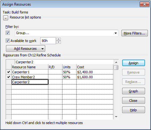"To look for expensive resources to replace, scan the Resources table's Cost cells. For help finding less expensive resources, display the Resource Sheet (choose View→Resource Views→Resource Sheet). You can filter the Resource Sheet to find resources in the same work group (click the down arrow next the Group column heading and then choose ""Group on this field"") or sort by the resource rate (click the down arrow next to the Standard Rate column heading and then choose Sort Ascending). When you find the resource you want, return to your task-oriented view to replace the resource."