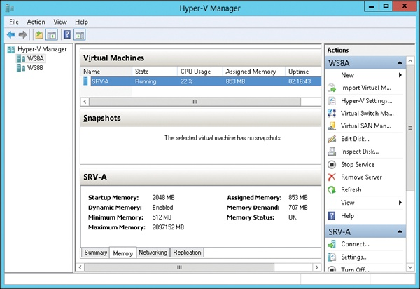 Using Hyper-V Manager to display real-time changes in memory usage by a VM with Dynamic Memory enabled.