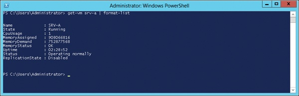 Using PowerShell to display real-time changes in memory usage by a VM with Dynamic Memory enabled.