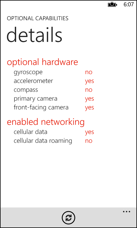A screenshot of an app that reports the status of optional hardware and enabled networking configuration for this device.