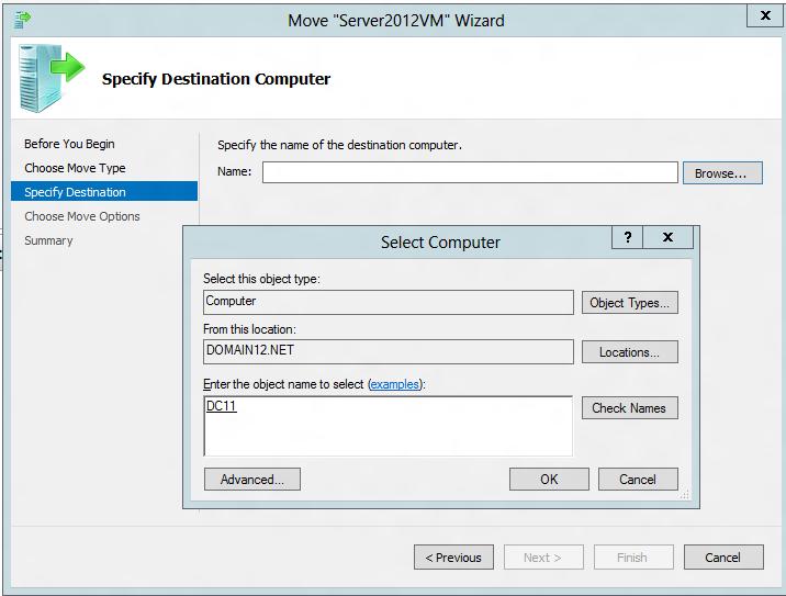 Specifying the destination server for live migration