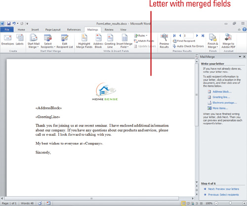Microsoft word 2010 creating mail merge documents creating a microsoft word 2010 creating mail merge documents creating a form letter microsoft powerpoint microsoft excel microsoft visio microsoft word spiritdancerdesigns Image collections