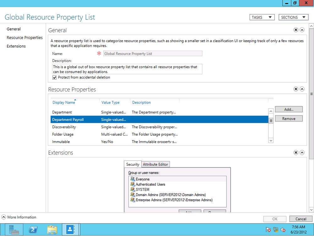Adding a resource property to the Global Resource Property List