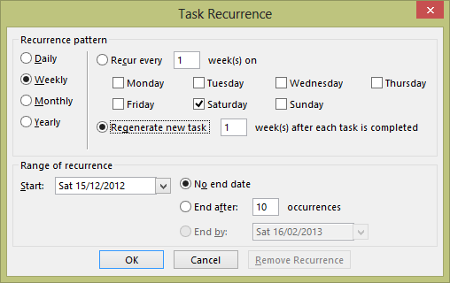 This screen shot is taken from Outlook 2013 and shows how an automatically regenerating task is created. In this case, the Regenerate New Task button is marked to indicate to Outlook that a new task should be auto-generated. The selected interval is 1 week, so the completion date for the new task is one week after the current task is completed.