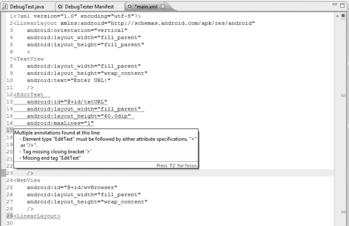 Debugging Android Applications : Eclipse Java Editor (part 1