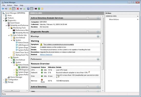 Viewing an Active Directory diagnostics report