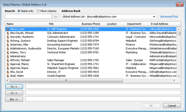 The Select Names dialog box displays addresses from the available address books.