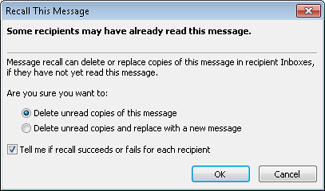 This dialog box is displayed when you attempt to recall a message.