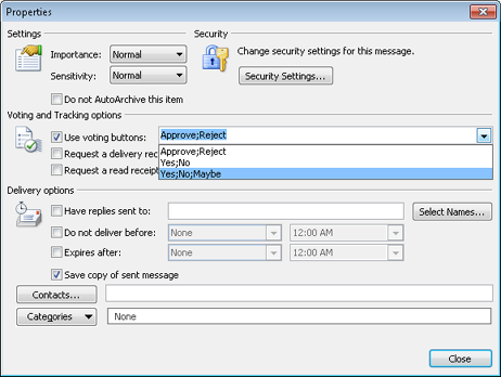 Select the voting buttons that you want to include using the Properties dialog box.