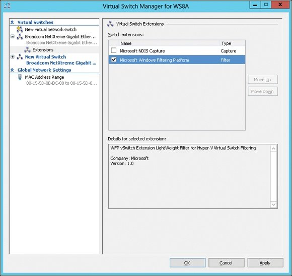Virtual switch extensions for the Hyper-V extensible switch.
