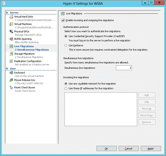 Enabling Live Migrations in Hyper-V Settings.