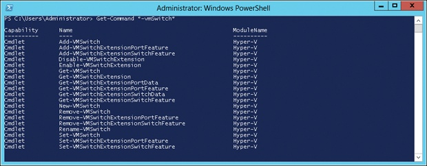 Displaying all PowerShell cmdlets for managing virtual switches.