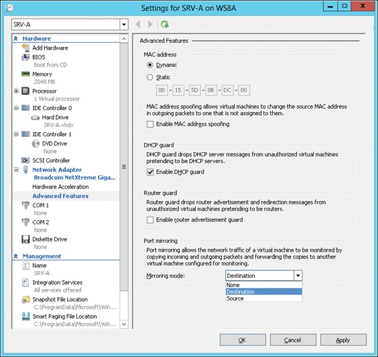Configuring advanced features for network adapter settings for a VM.