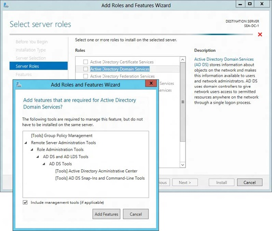 Installing the AD DS role together with the role-management tools.
