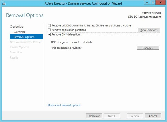Options for removing the DNS zone and application partitions when demoting the last domain controller in a domain.