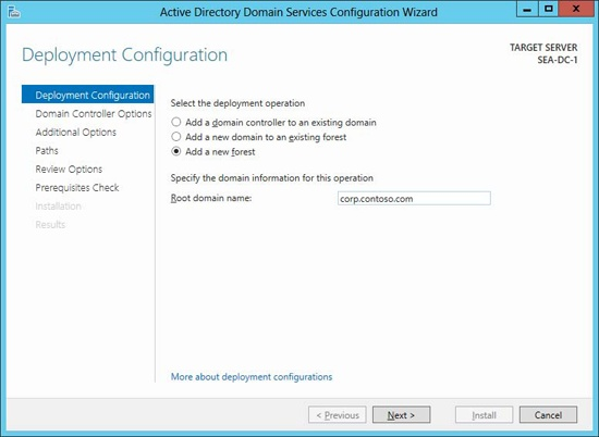 Deploying the first domain controller for a new forest using the AD DS Configuration Wizard.
