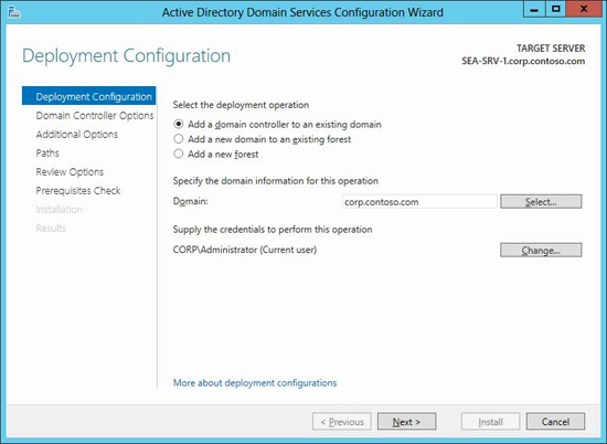 Deploying an additional domain controller to an existing domain.