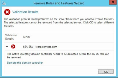 You must demote a domain controller before you can remove the AD DS role from it.