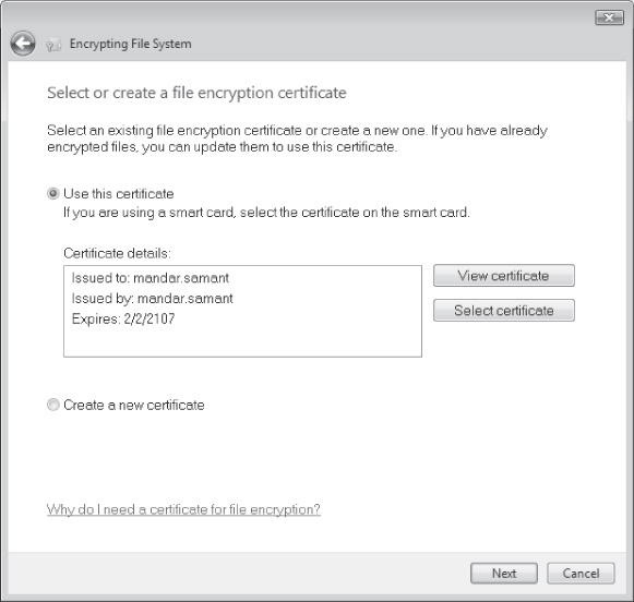 Using the Encrypting File System Wizard to back up EFS certificates