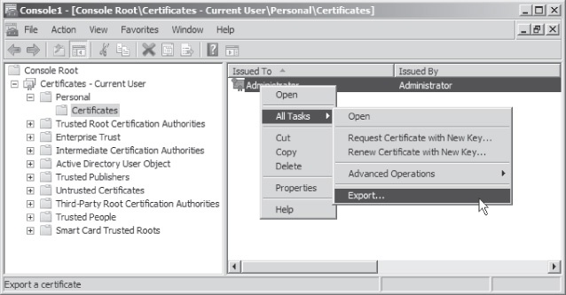 Exporting a certificate for EFS recovery