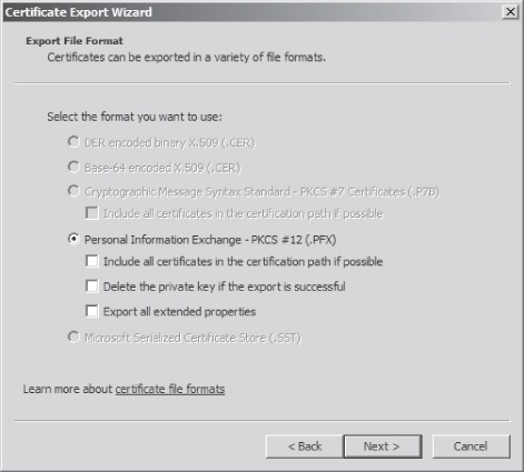 Using the default .PFX file format for the DRA recovery key
