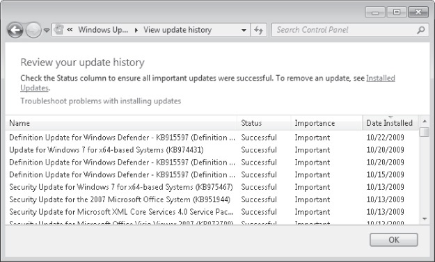 Reviewing an update history with the Windows Update tool