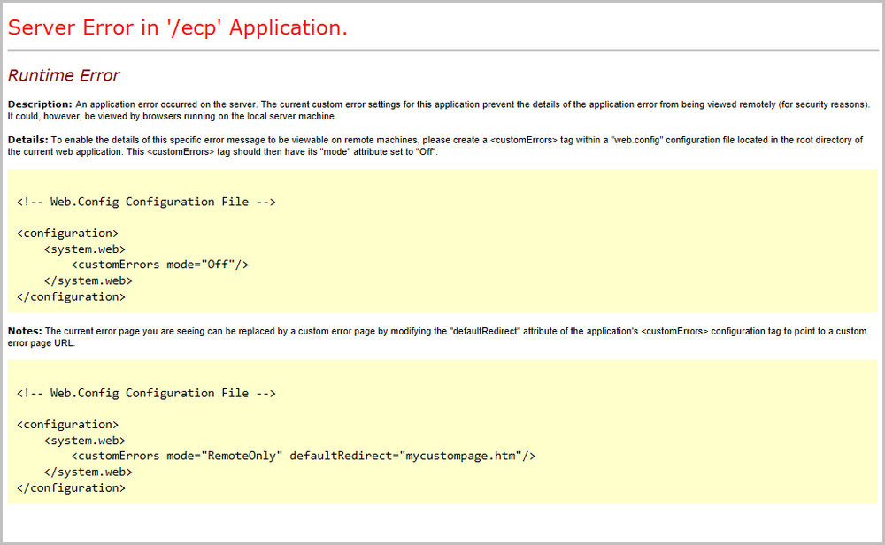 A screen shot of a runtime error displayed in a browser, showing the error message and details.
