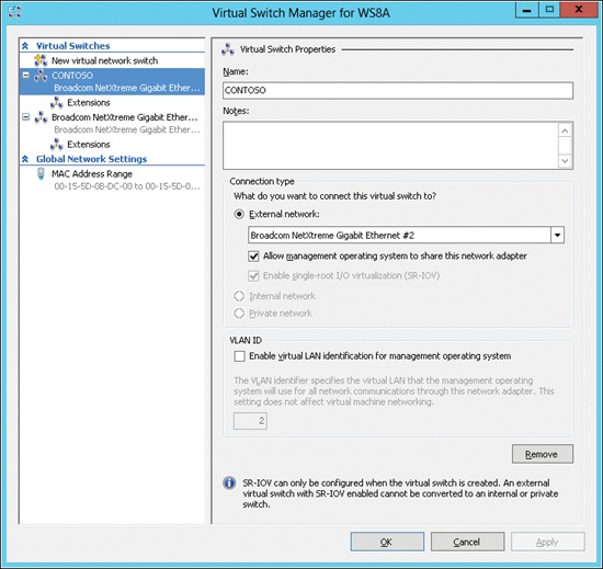 SR-IOV must be configured on the virtual switch before it can be configured for the VM.