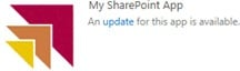 The tile for an app displays a notification when an updated version is available from the SharePoint Store or app catalog.