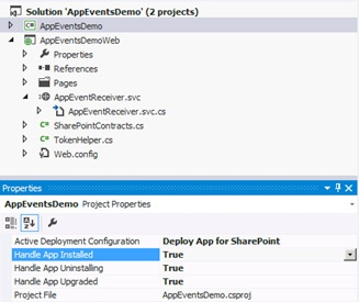 The property sheet for an app project provides Boolean properties for enabling lifecycle events.