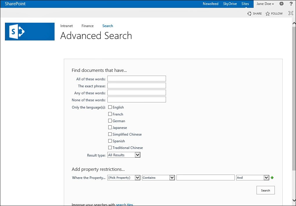 Sharepoint 2013 : Use the Advanced Search (in SharePoint Server