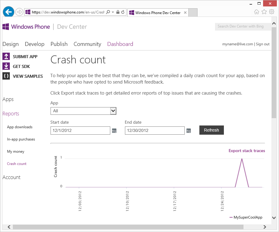 A screenshot of the Crash count report page in the Dev Center, with fields for specifying the app, and the date range for the report. Below is a chart of crashes, and a link to fetch stack traces.