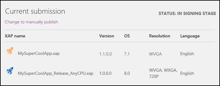 A screenshot of the Dev Center dashboard, showing a table which lists multiple versions of the MySuperCoolApp app.