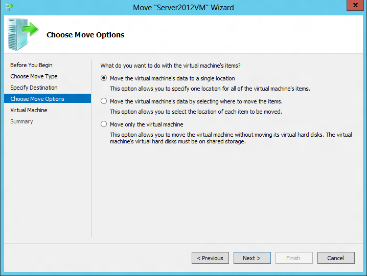 Selecting move options