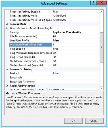 Configuring a web garden on IIS 8.