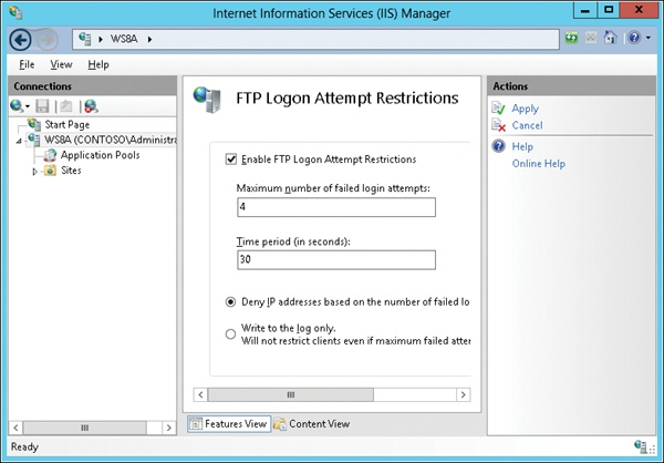 Configuring FTP Logon Attempt Restrictions.