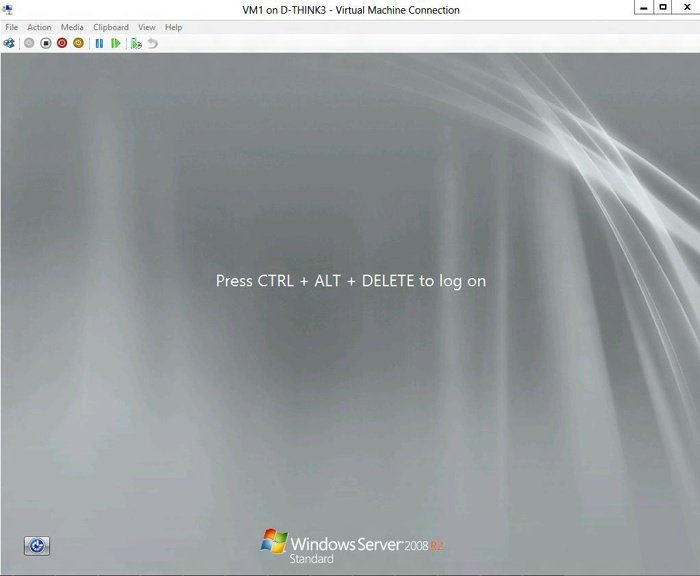 Viewing the Virtual Machine Connection screen on the virtual machine console