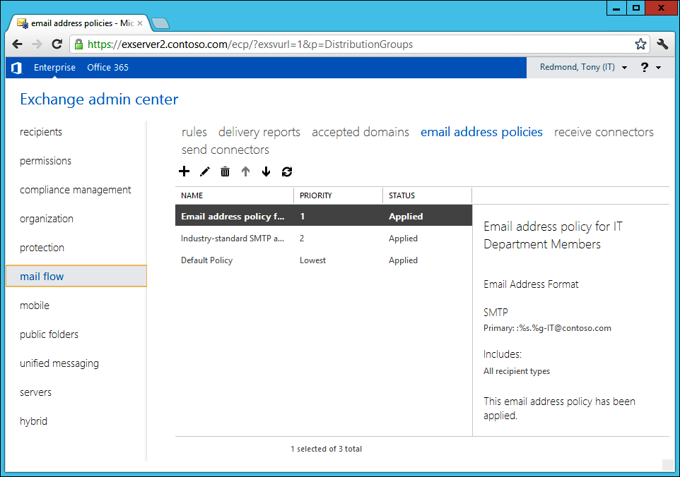 A screen shot of the Exchange Administration Center, positioned in the Mail Flow section with Email Address Policies selected. Three email address policies are defined for the organization. The selected policy is named Email Address Policy For IT Department Members.