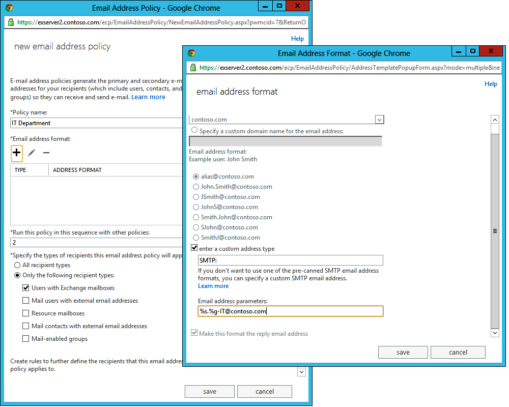Two screen shots to illustrate the steps in creating a new email address policy. On the left-side screen is the name of the policy, its priority (2), and which kinds of objects come under its control (only users with Exchange mailboxes). On the right, you see how the format of an SMTP address is specified. In this instance, it is %s.%g-IT@contoso.com.