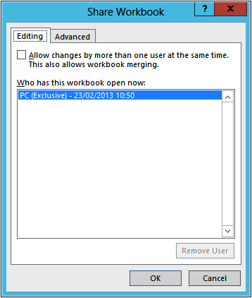 A screenshot of the Share Workbook dialog box.