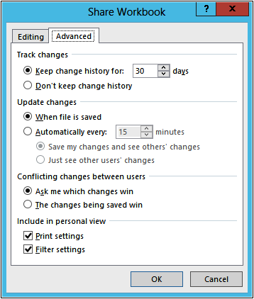 A screenshot of the Advanced tab with the default settings.