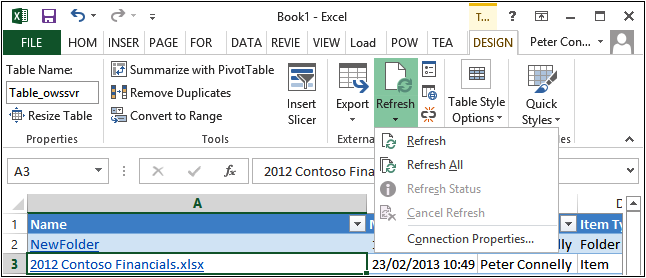 A screenshot of the Excel Design tab with the Refresh split button selected.