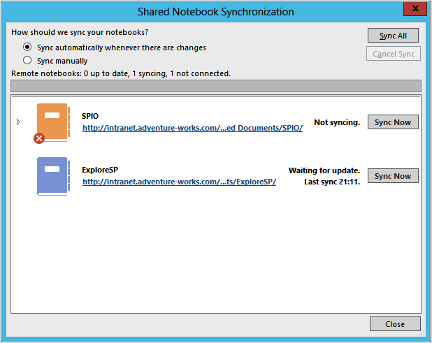 A OneNote user can share a notebook from the Share Notebook window.