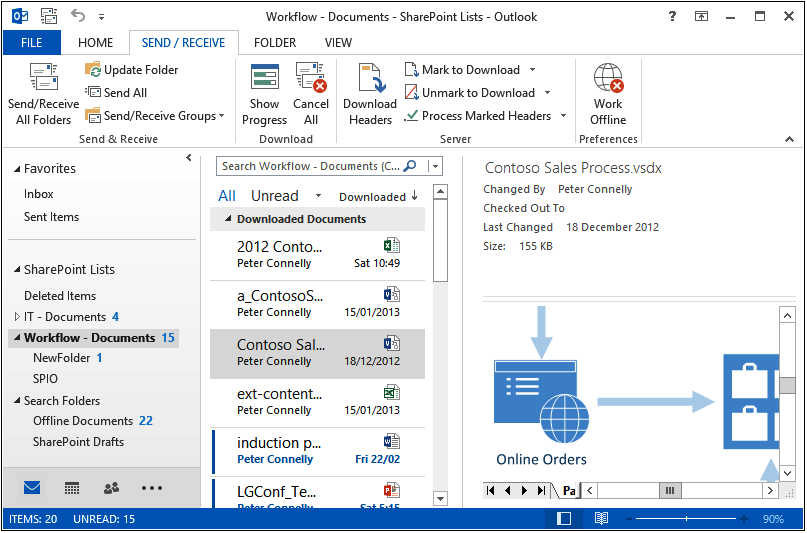 A screenshot of Outlook with a Visio file selected in the document library and the preview of the contents of the Visio file displayed.