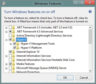 Adding the Hyper-V feature to a new computer running Windows 8