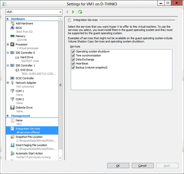 The Integration Services options shown for each virtual machine