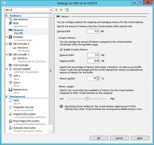 Configuring Dynamic Memory for a virtual machine.