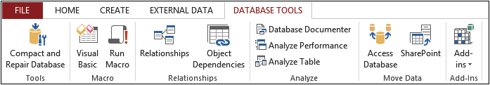 A screenshot of the Database Tools tab.