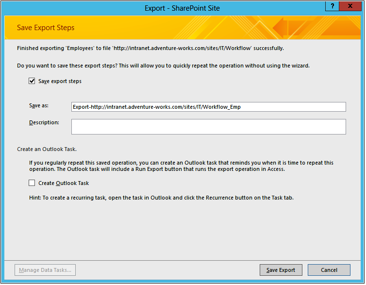 A screenshot of the Save Export Steps dialog box.