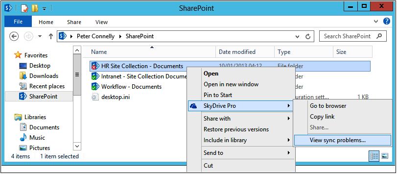 A screenshot of Windows Explorer displaying the SkyDrive Pro contextual menu for a SharePoint sync folder.